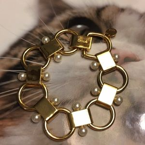 Chloe gold pearl bracelet